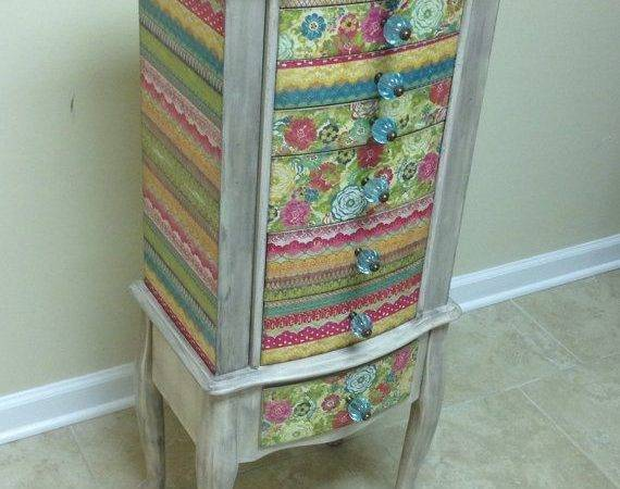 Colored Repurposed Jewelry Armoire Custom Made Order Armoires
