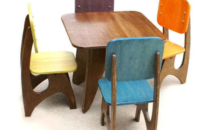 Colorful Modern Kids Table Chairs Made Solid Wood Credit