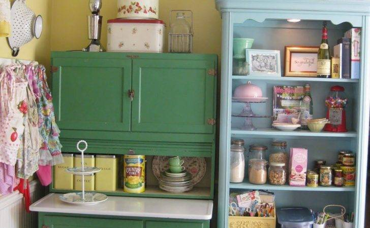 Colorful Vintage Kitchen Storage Ideas Photos