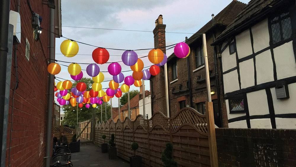 Colourful Outdoor Lanterns Brighten Hive Bar Crawley