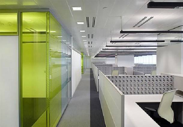 Commercial Office Interior Design Ideas White Partition Glass Wall