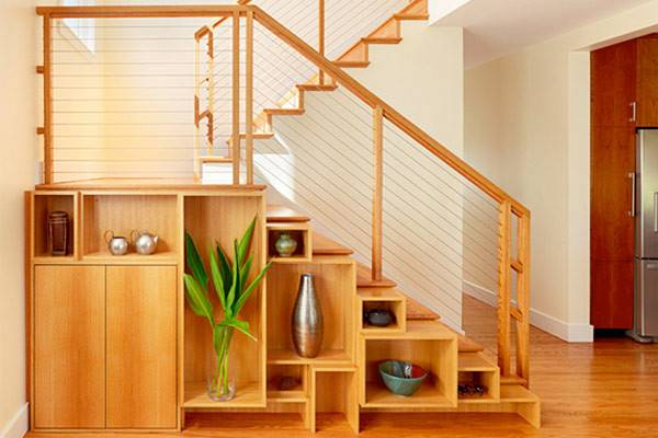 Compact Stairs Classy Shelf Space Custom Staircase
