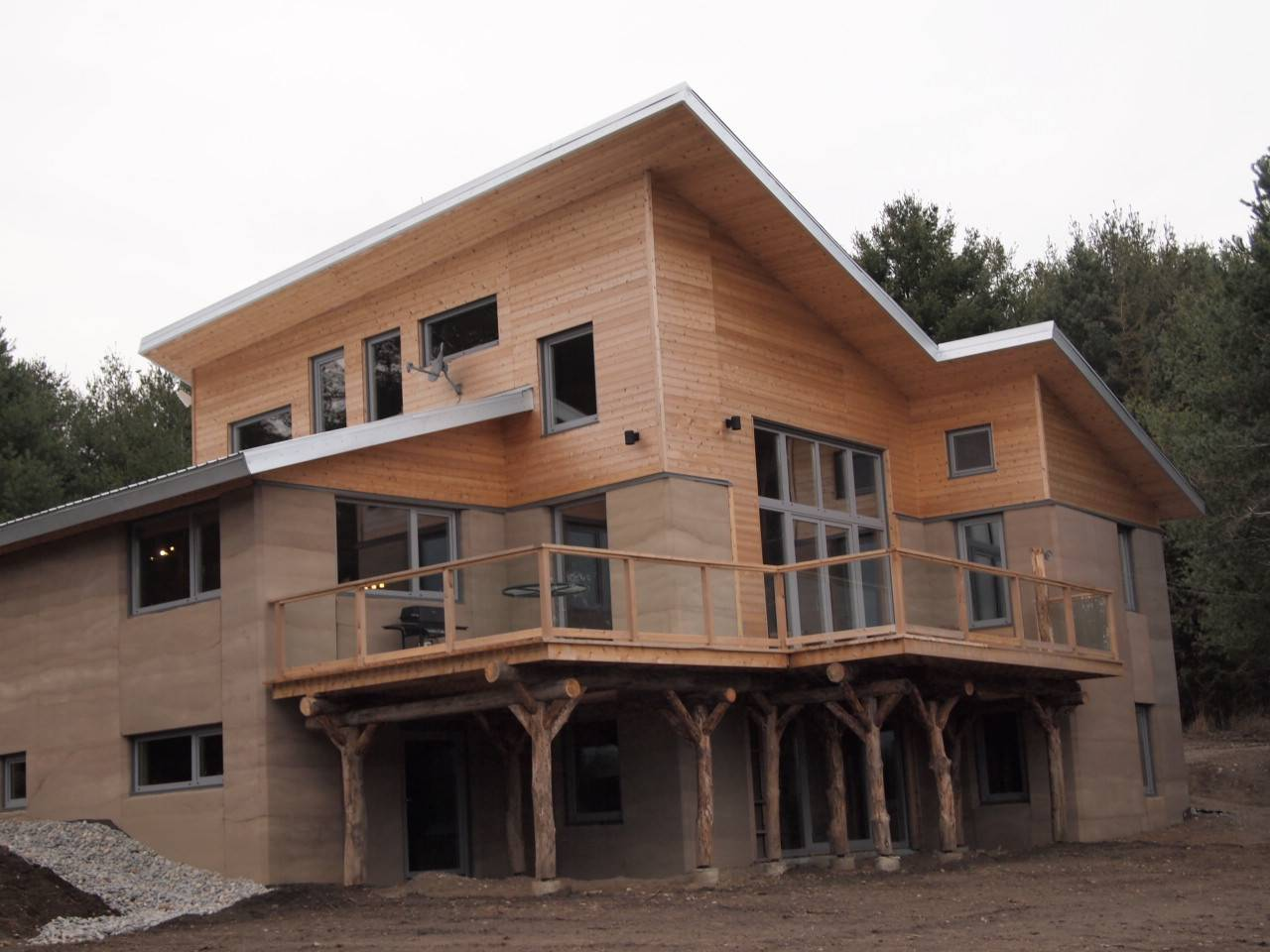 Completed Rammed Earth House Near Cobourg