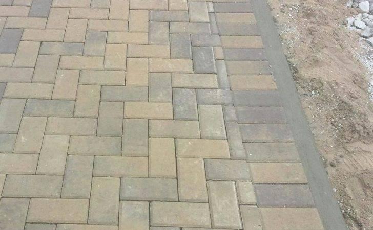 Concrete Edging Reinforcement Degree Herringbone Laying Pattern