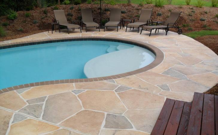Concrete Flagstone Simulation Pool Deck Decorative