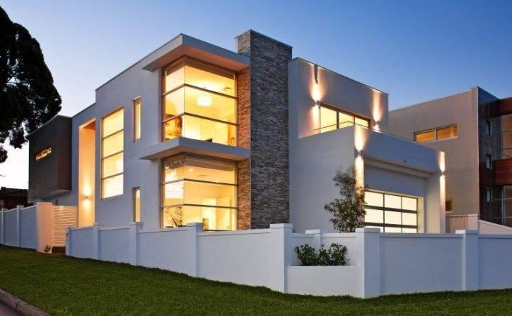 Concrete Modern House Exterior Balcony Decorative Lighting