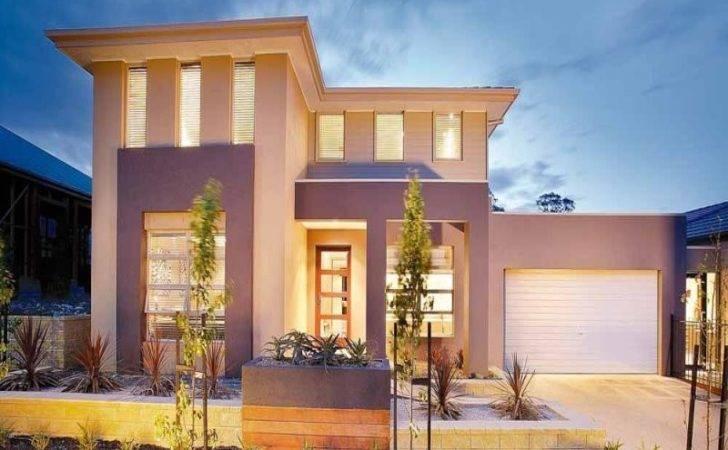 Concrete Modern House Exterior Brick Fence Feature Lighting