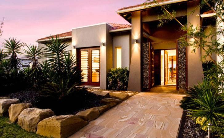 Concrete Modern House Exterior French Doors Landscaped Garden