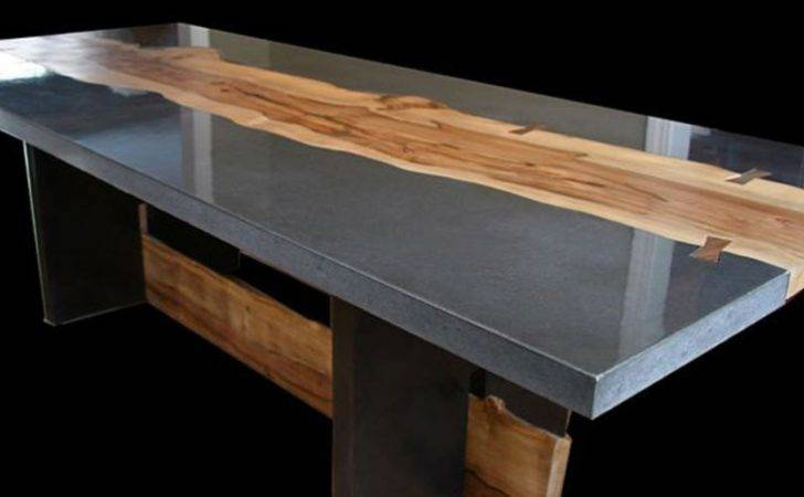 Concrete Table Wood Inlay Keelin Kennedy Cheng