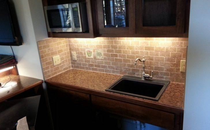 Concrete Tiles Offset Pattern Kitchen Backsplash Stone