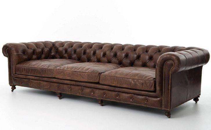 Conrad Vintage Cigar Leather Chesterfield Sofa Zin Home