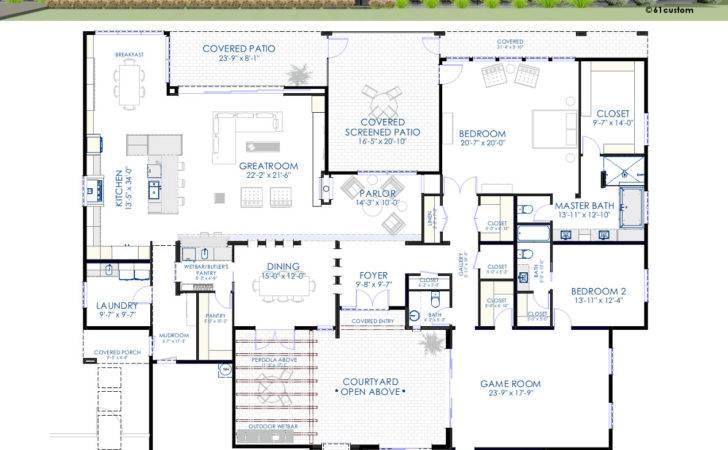 Contemporary Courtyard House Plan Custom Modern