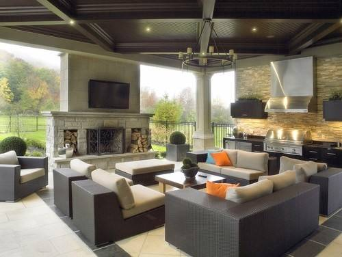 Contemporary Design Great Room Outdoors Includes Kitchen Grill