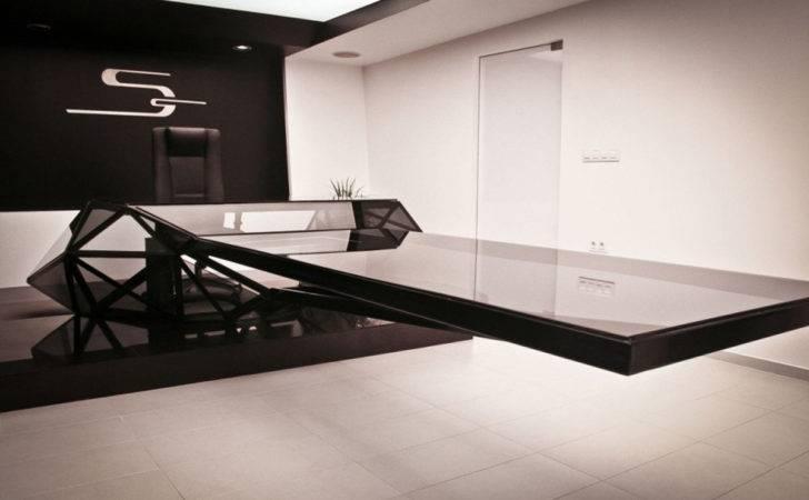 Contemporary Design Work Desk Idea Base Less Glass Top