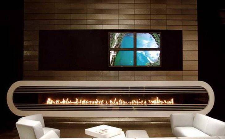 Contemporary Fireplaces Gas White
