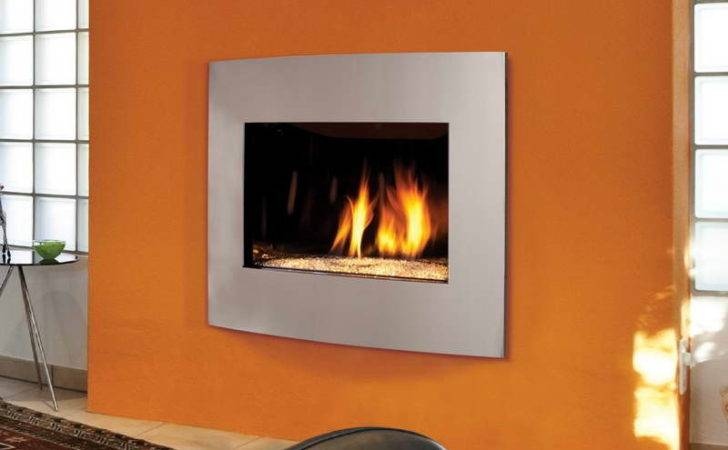 Contemporary Gas Fireplace Design Orange Wall