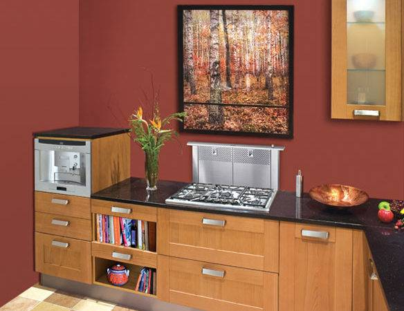 Contemporary Kitchen Red Walls