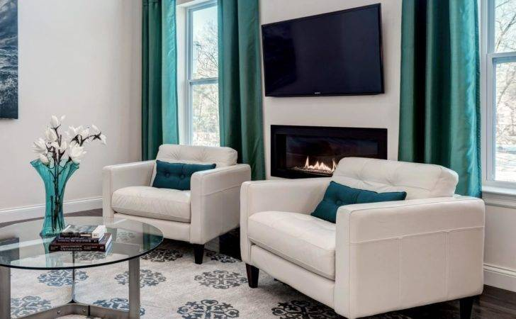 Contemporary Living Room Turquoise Curtains Bright