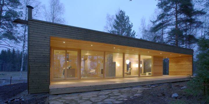 Contemporary Mobile Homes Dark Wood Glass Wall