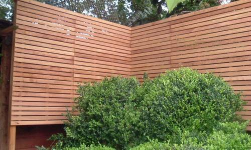 Contemporary Natural Slatted Panels Fence