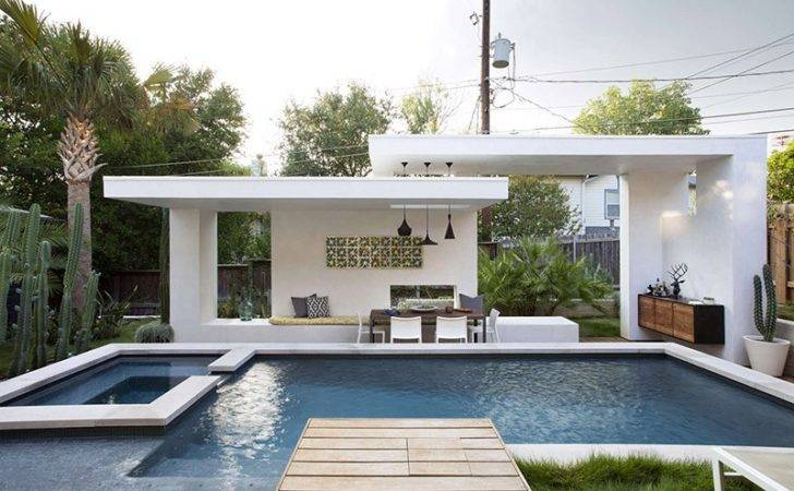 Contemporary Pool Cabana Texas Home Contemporist