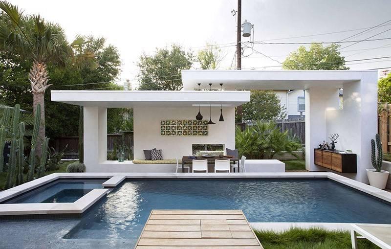 Contemporary Pool Cabana Texas Home Contemporist