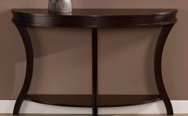 Contemporary Sofa Table Wood Console Semi Circle Shelf Espresso Finish