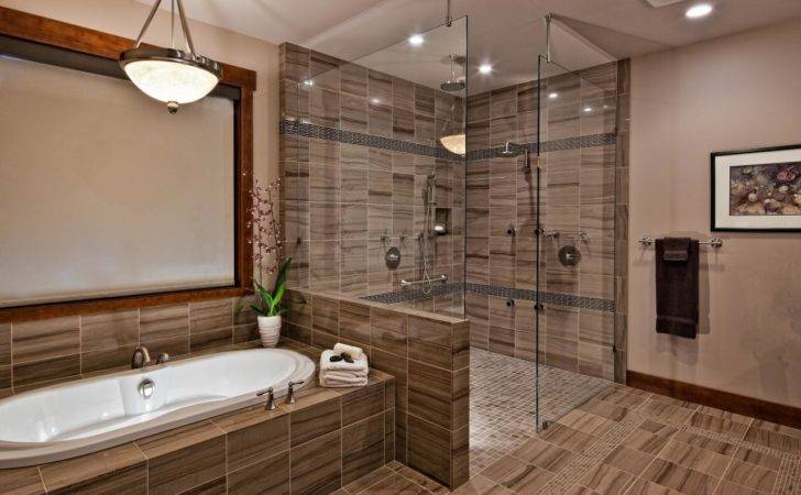 Contemporary Stone Bathroom Features Spa Shower Multiple