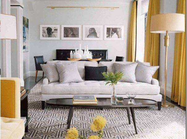Contemporary Vintage Living Room Grey Yellow Just Decorate