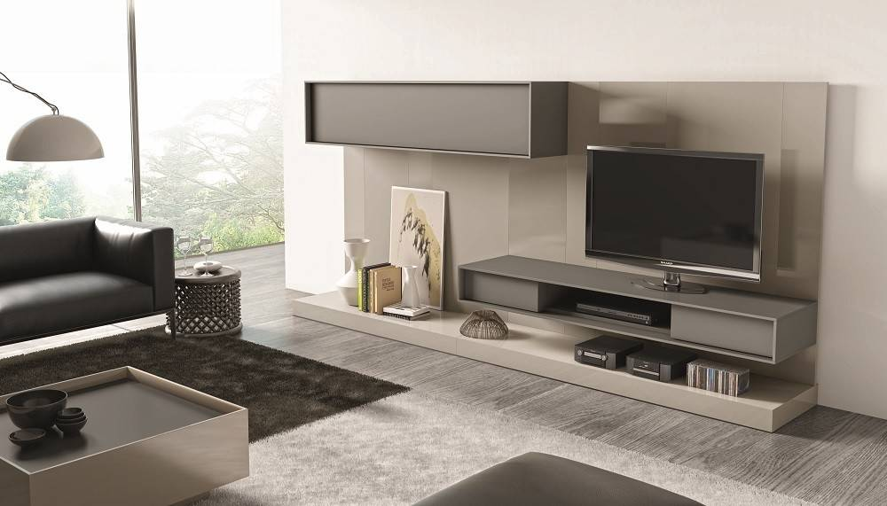 Contemporary Wall Unit Textured Wood Veneers Floating Design