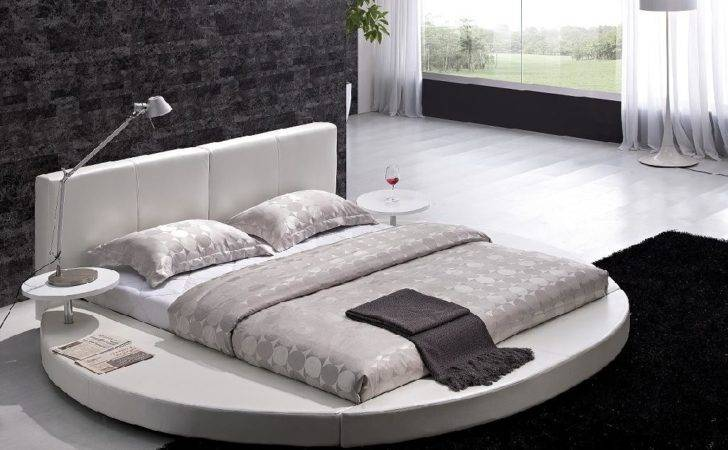 Contemporary White Leather Headboard Round Bed Queen Modern Circle