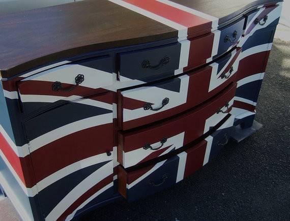 Contemporary Wood Top Union Jack Dresser