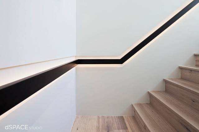 Continious Blackened Steel Handrail Contemporary Staircase