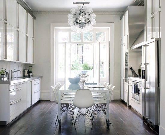 Contrast White Walls Dark Stained Floorboards Kitchen Flooring