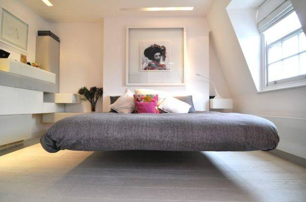 Cool Floating Bed Draped Gray Stylish