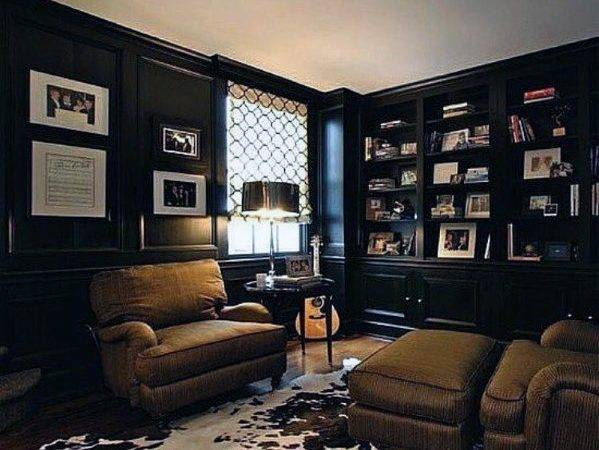 Cool Man Cave Ideas Black Wall Paint Leather Chairs