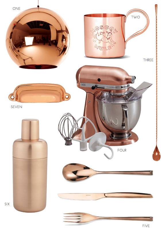 Copper Kitchen Accents Polished Hardware Mixer