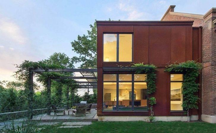 Cor Ten Steel Glas Extension Georgian Home Extends Into
