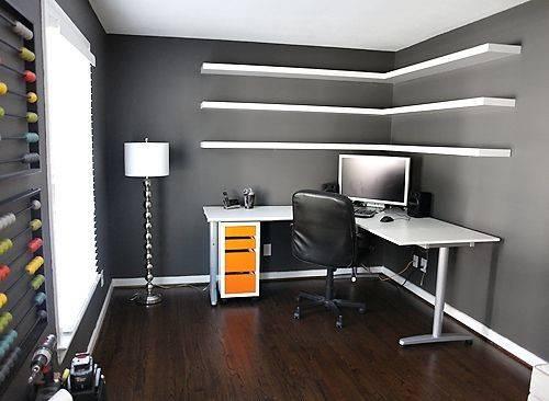 Corner Shelf White Office Offices Ideas Floating Shelves