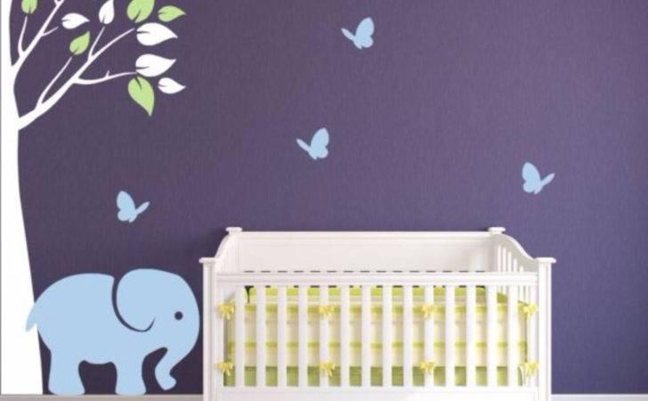 Corner Tree Decal Nursery Elephant Butterflies
