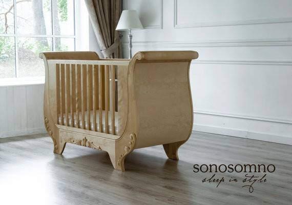 Cot Bed Solid Birch Wood Nursery Furniture Luxury Safety
