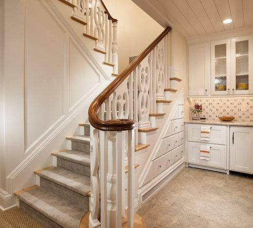 Cottage Feel Staircase Design Ideas Remodels Photos