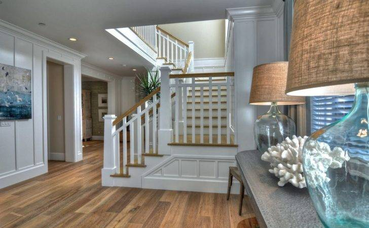 Cottage Staircase High Ceiling Wainscoting Loft Crown Molding