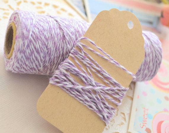 Cotton Lavender Purple Coloured Twine Gift Wrapping Metres