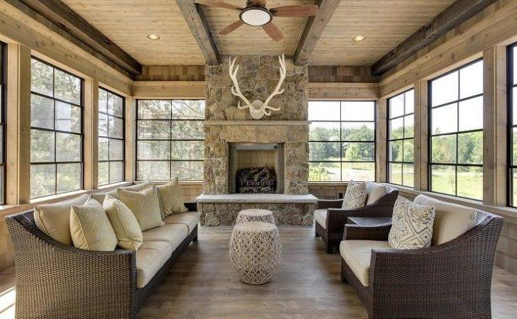 Country Cabin Sunroom Antlers Over Fireplace Deck