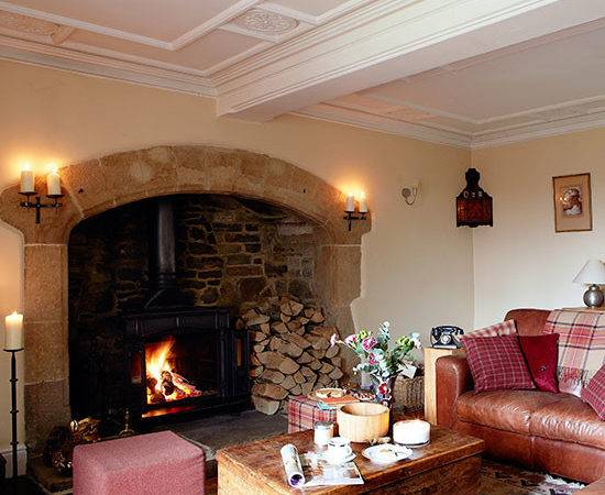 Country Living Room Inglenook Fireplace Decorating