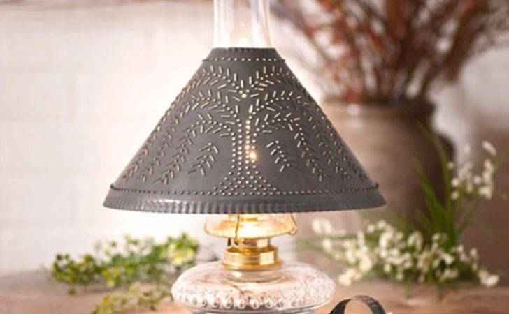 Country New Small Blacken Tin Table Lamp Punched Willow