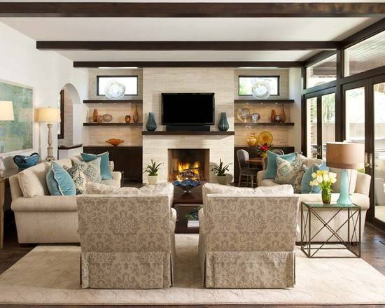 Country Style Small Room Design Ideas Sectional Sofa