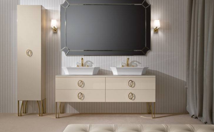 Creamy High End Bathroom Vanity Double Vessel Sinks Large
