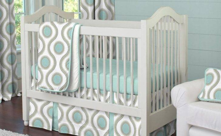 Crib Bedding Aqua Taupe Modern Dot Piece Set